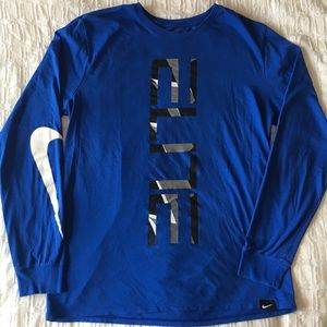 Nike Dry Fit Royal Blue Long Sleeve Shirt - Large